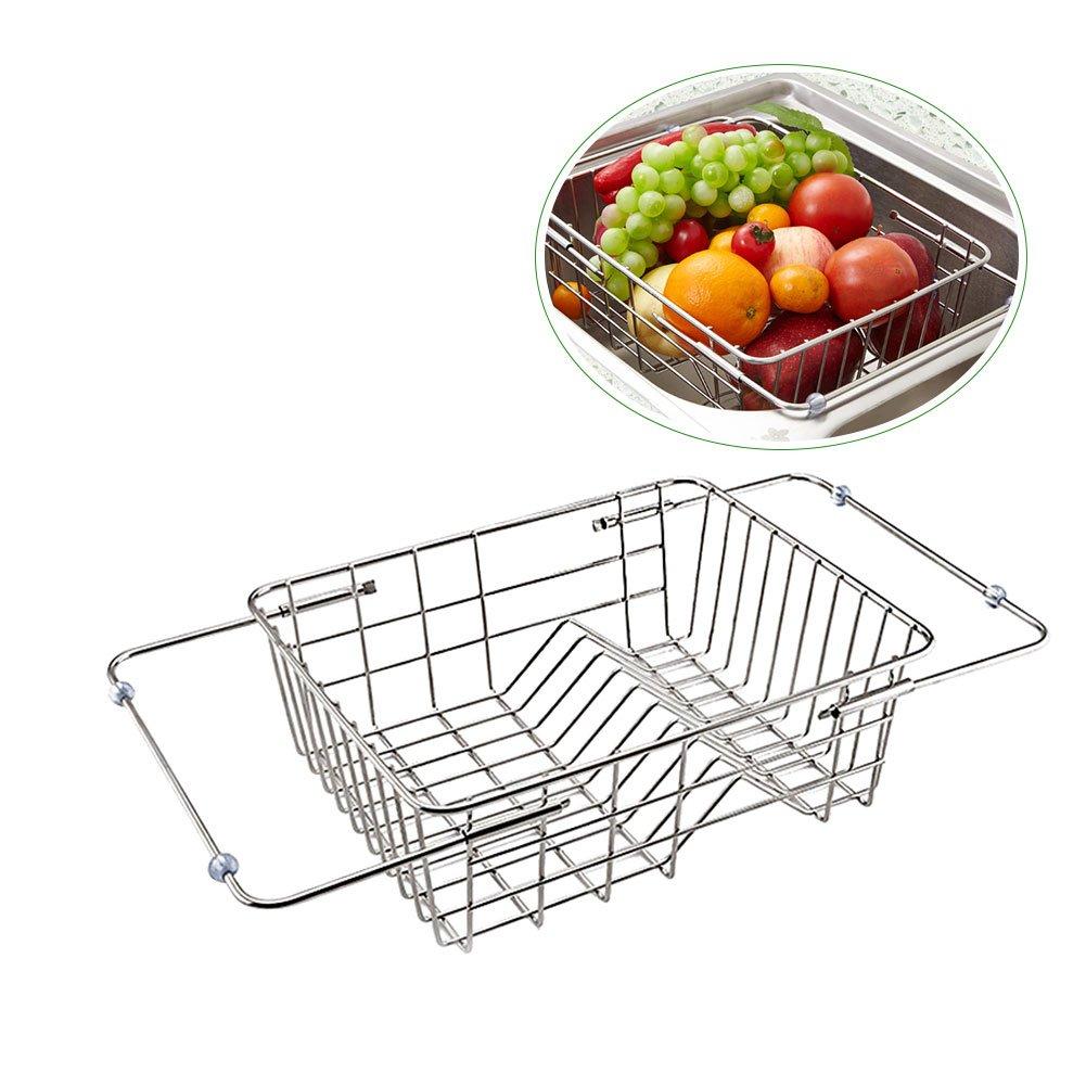 gaeruite - Cestello per lavandino, in acciaio INOX, telescopico, per lavandini e verdure