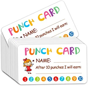Punch Card, 100pcs Reward Incentive Card for Teacher, Behavior Chart for Kids, Homeschool Classroom Supplies for Motivation