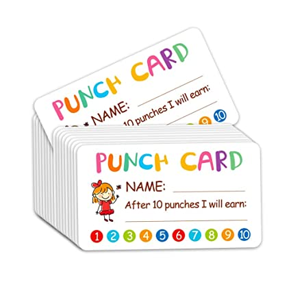 Punch Card, 100pcs Recompensa Incentive Tarjeta para Maestro ...