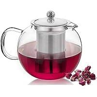 Seninhi - Tetera de cristal transparente con infusor de acero inoxidable 304 extraíble para estufa, seguro para té de…