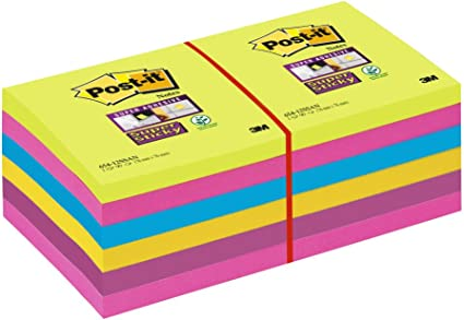 Post-It Super Sticky 65412SSU - Pack de 12 blocs de notas, 76 x 76 ...