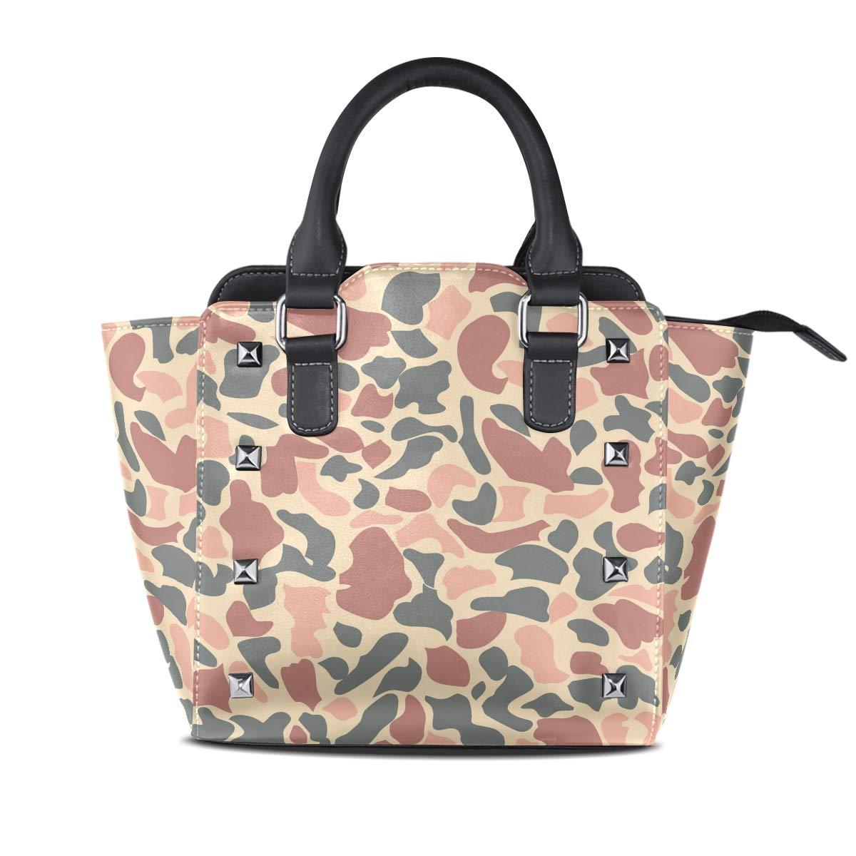 Design2 Handbag Beautiful Village Genuine Leather Tote Rivet Bag Shoulder Strap Top Handle Women