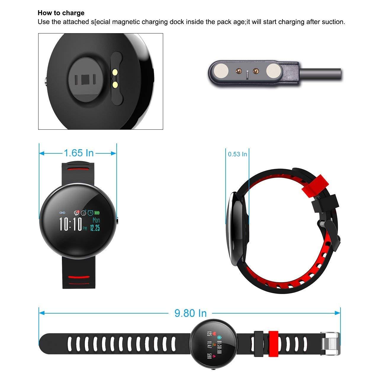 LATITOP Fitness Tracker Uhr mit Pulsmesser und Sphygmomanometer, 2.5D Farbdisplay Wasserdicht Aktivitäts-Tracker mit Schrittzähler, Kalorienzähler, Schlafmonitor(Rot)