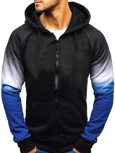 Mens Fashion Long Sleeve Gradien Color Printed Pullover Hooded Sweatshirt Outwear Hoodies with Kanga Pocket