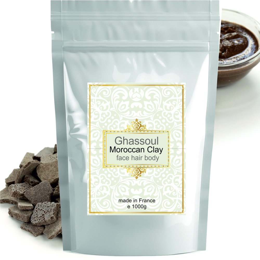 Ghassoul (rhassoul) Authentic Clay Atlas 1kg Exquisite spa quality mineral-rich clay from Morocco - Face, Hair, Body Detox Made in France