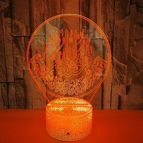 3D Ilusión óptica Lámpara LED Luz Cabeza islamica de noche ...