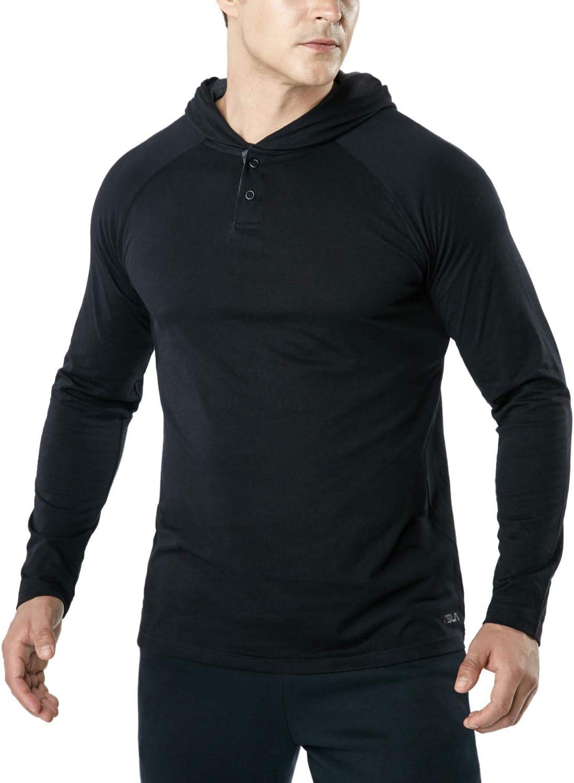 TSLA Mens Dynamic Cotton Cool Casual Long Sleeved Active Shirt