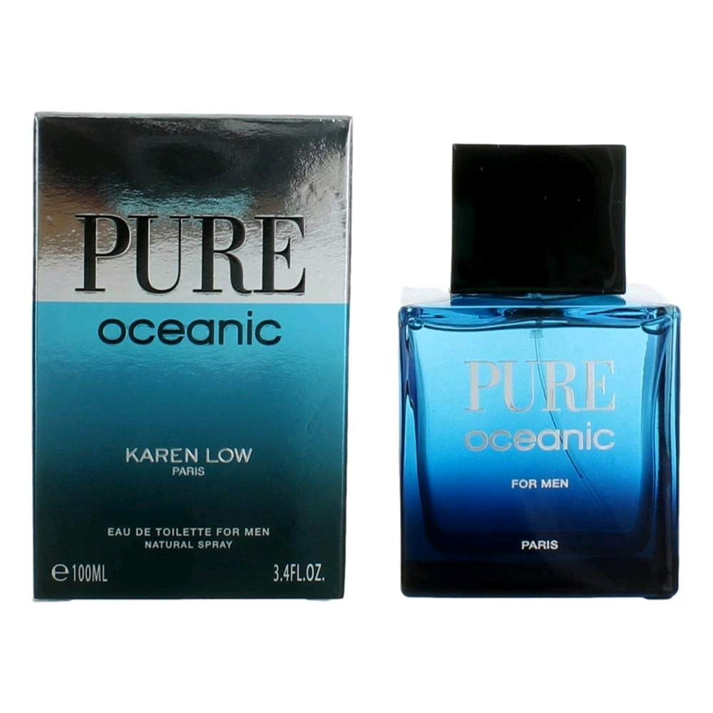 Pure Oceanic By Karen Low Paris Eau De Toilette For Men Natural Spray 3.4 oz