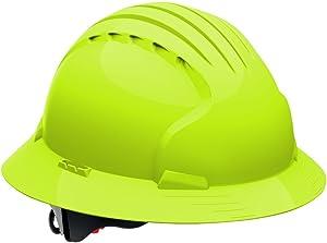 Evolution Deluxe 6161 280-EV6161-10 Full Brim Hard Hat with HDPE Shell, 6-Point Polyester Suspension and Wheel Ratchet Adjustment (VENTED, Hi Viz Lime Green)