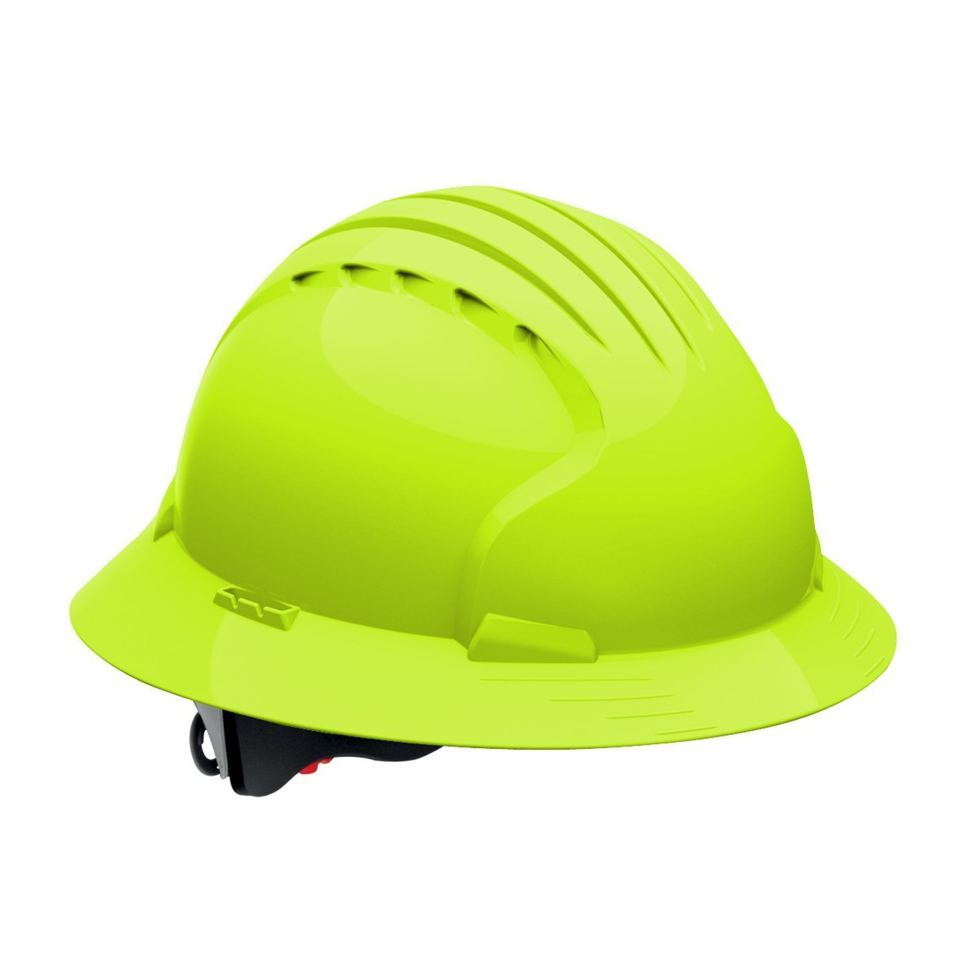 Evolution Deluxe 6161 280-EV6161-10 Full Brim Hard Hat with HDPE Shell, 6-Point Polyester Suspension and Wheel Ratchet Adjustment (VENTED, Hi Viz Lime Green) by Evolution Deluxe 6161