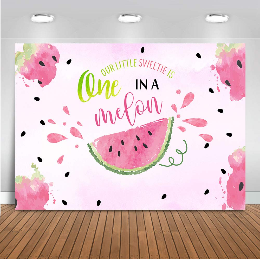 Mocsicka Watermelon Birthday Backdrop One in a Melon 1st Birthday Background 7x5ft Vinyl Watermelon First Birthday Party Banner Backdrops