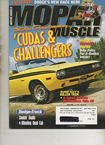 Mopar Muscle June 2000 Magazine 30th ANNIVERSARY 'CUDAS & CHALLENGERS: MOPAR'S FAVORITE MOPAR NEW PARTS FOR E-BODIES INSIDE Exclusive! Dodge's New Race Hemi