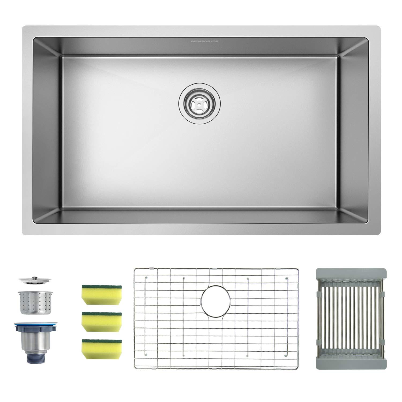 MENSARJOR 32'' x 19'' Single Bowl Kitchen Sink 16 Gauge Undermount Stainless Steel Kitchen Sink, Bar or Prep Kitchen sink by MENSARJOR