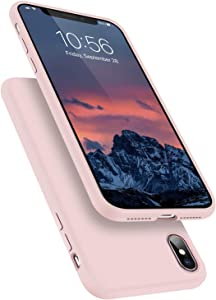 Segoi Liquid Silicone Case Compatible with iPhone XsMax 6.5 inch, Gel Rubber Full Body Protection Shockproof Cover Case Drop Protection Case - Pink Sand