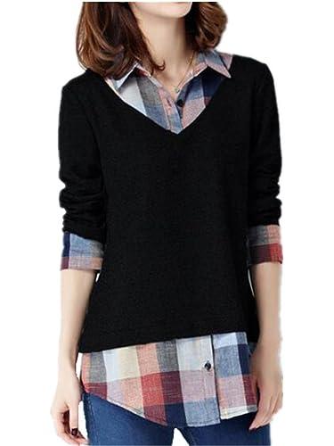 Kerlana Blusa Mujer Oversized Camiseta Cuello v Con Mangas Largas T Shirt Dos piezas falsas Pullover...