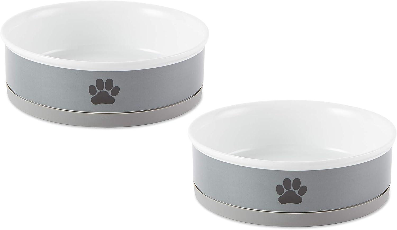 Bone Dry Ceramic Pet Collection, Large Bowl Set, Gray Paw 2 Count