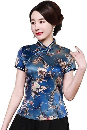 ACVIP Blusa China de Manga Corta con Cuello Alto y Estampado de Flores para Mujer: Amazon.es: Ropa y accesorios