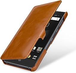 StilGut Book Type Case, custodia per BlackBerry Motion a libro booklet in vera pelle, Cognac con Clip