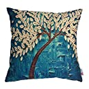 Monkeysell Oil Painting Black Large Tree and Flower Birds Cotton Linen Throw Pillow Case Cushion Cover Home Sofa Decorative 18 X 18 Inch (S118A8)