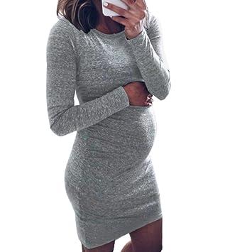 Vestido mini para embarazadas, de moda con cuello en O y manga larga, vestido