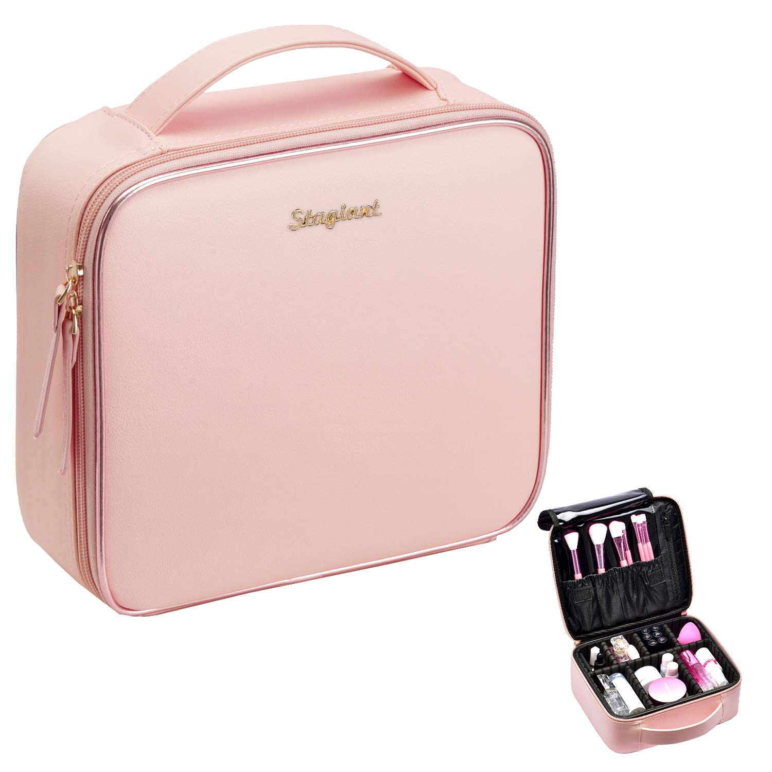 Stagiant Makeup Bag Portable Travel Makeup Train Case PU Leather Cosmetic Storage Organizer with Dividers for Girl Cosmetic Make Up Tools Toiletry Jewelry Digital Accessories - Rose Gold