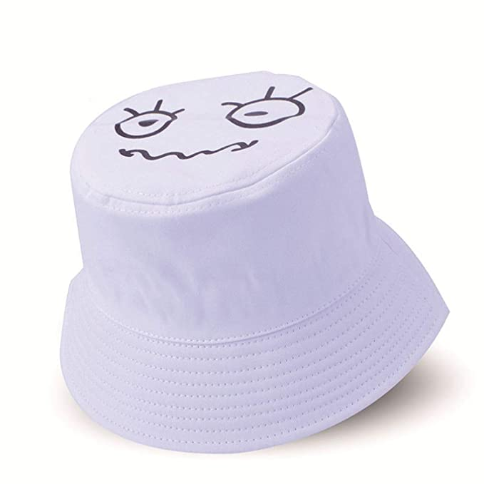 9f004b4ad6e Summer Women Mens Hat Panama Foldable Bucket Hat Cartoon Smile Face Design  Flat Sun Fishing Fisherman