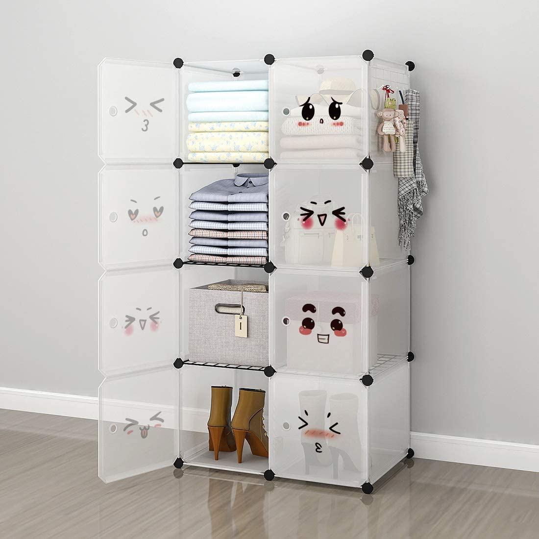 GEORGE&DANIS Portable Cube Storage, Clothes Wardrobe Closet Armoire Cabinet Plastic Dresser Bedroom Organizer, 14 inches Depth, 2x4 Tiers