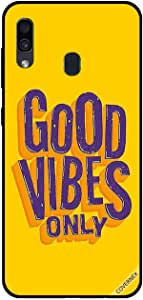 For Samsung Galaxy A30 Case Good Vibes Only Yellow BG
