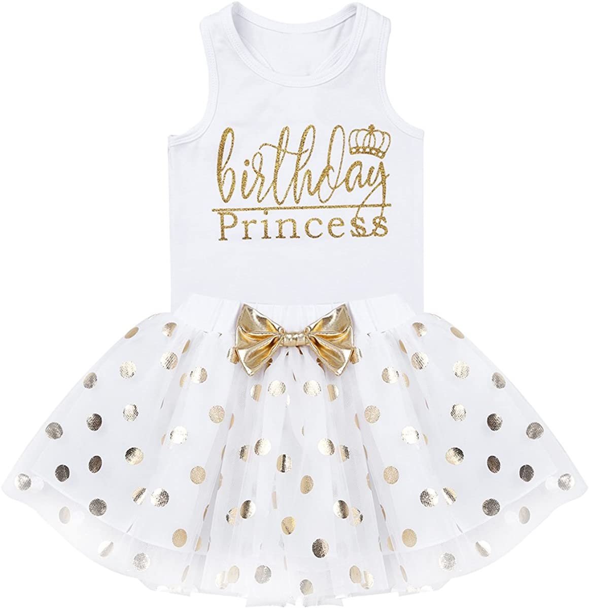 dPois Toddler Baby Girls/â/€ Fancy Birthday Outfits Princess Racer-Back Sleeveless Vest with Polka Dot Bubble Skirts 2PCS Set