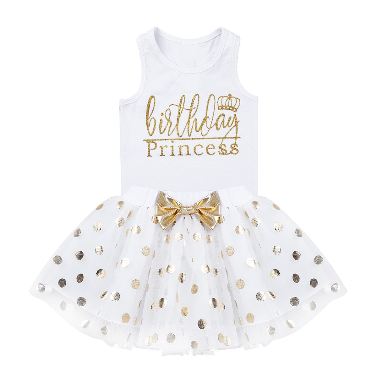 dPois Little Princess Girls' First Birthday Outfits Glittery Monogram Tank Top with Polka Dot Skirts 2 Pieces Set White 4-5 by dPois (Image #5)