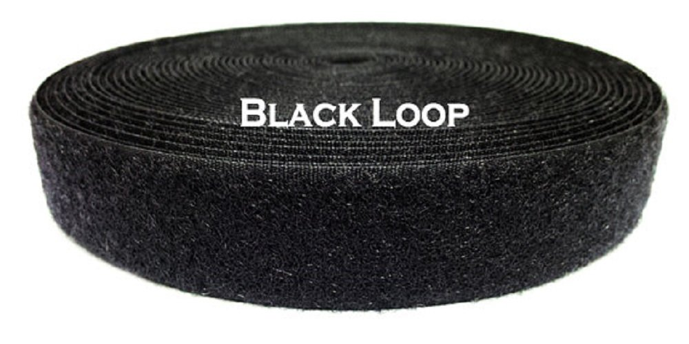 """1 Foot (12"""") of 4 Inch Wide Black Sew-on Loop (This is the soft, fuzzy side ONLY of Hook and Loop fastener)"""