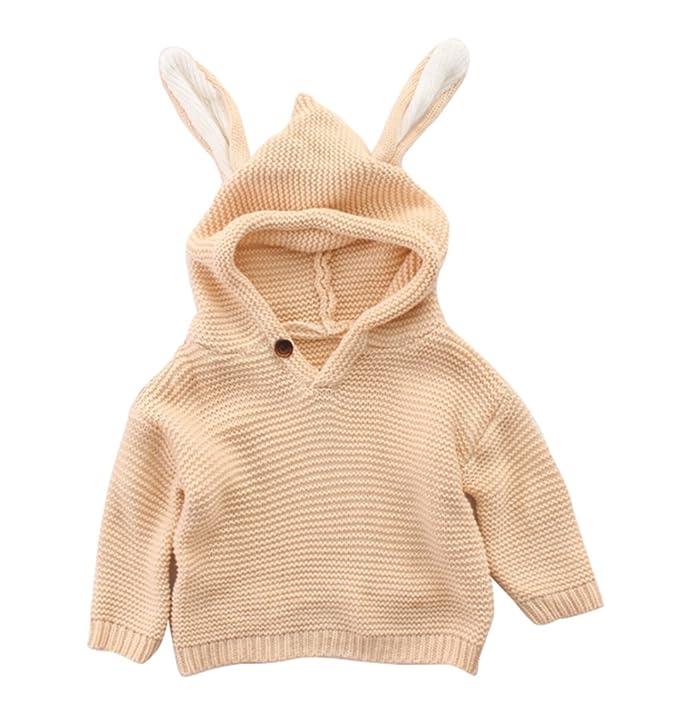 Cwna Bebé de Punto suéter Ropa con Capucha, Sudaderas con Capucha Orejas de Conejo Lindo para Hacer Punto Puentes: Amazon.es: Ropa y accesorios