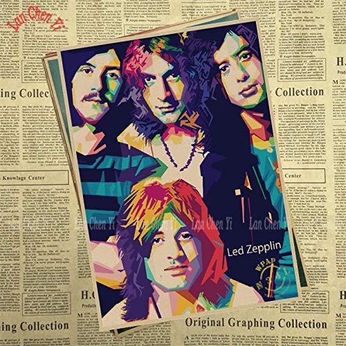 1 piece Led Zeppelin Band Classic Nostalgic Matte Kraft Paper Poster Cafe Creative wallpaper Interior -