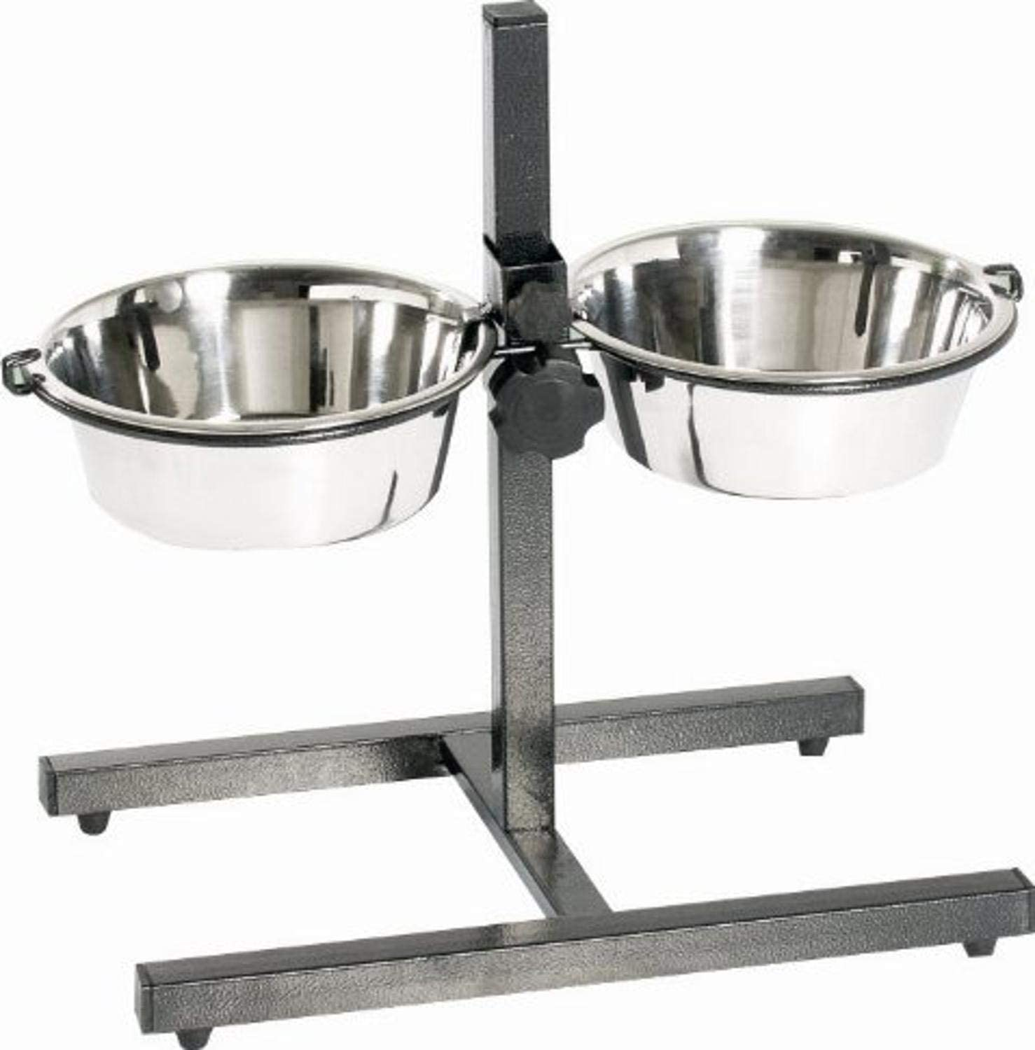 Indipets Adjustable Double Diner with 2 Stainless Steel Dog Bowls - Heavy Base Adjusts to Fit Your Pet's Height