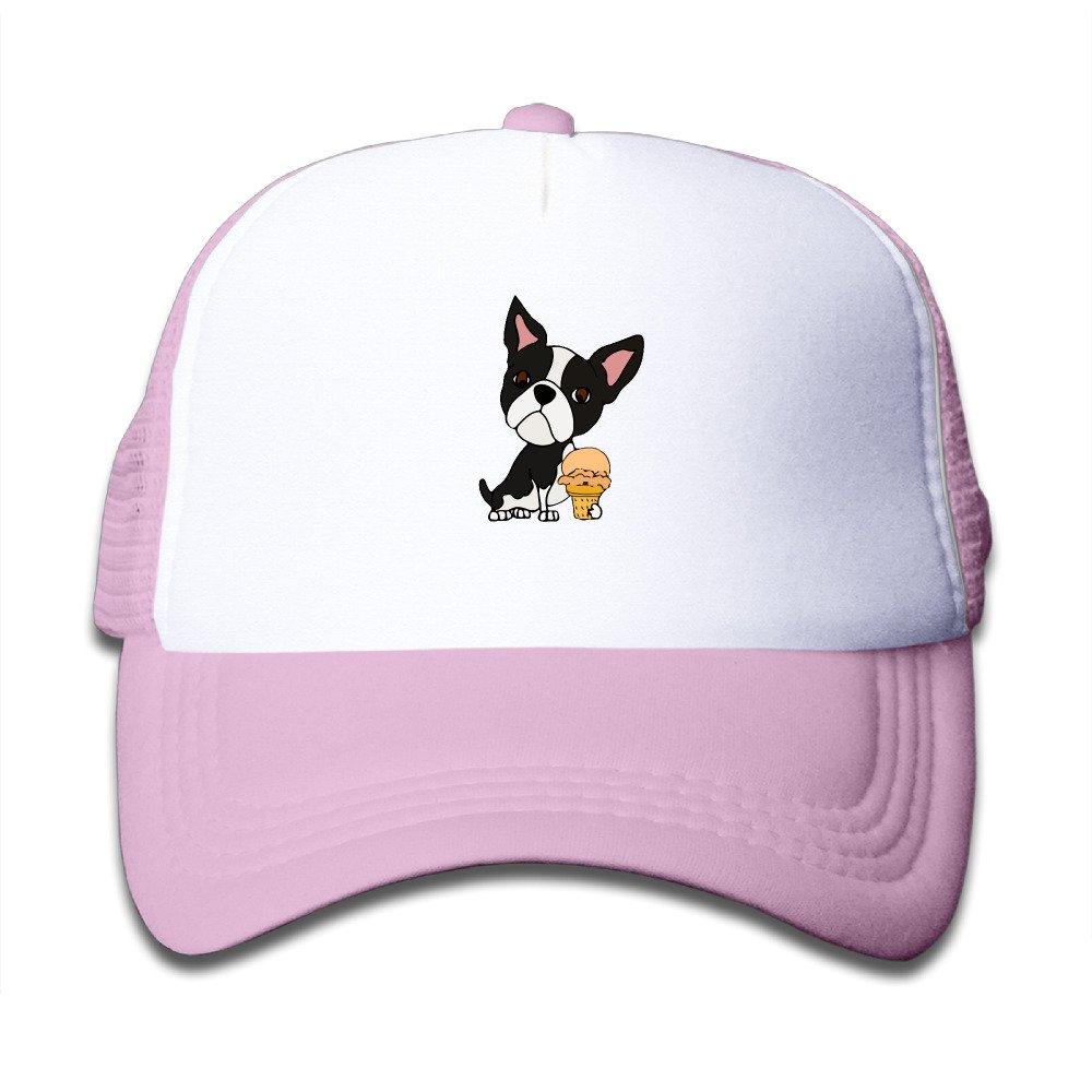 LoKIDve Funny Boston Terrier Eating Ice Cream Boys Girls Mesh Cap Trucker Caps Hat Adjustable Black