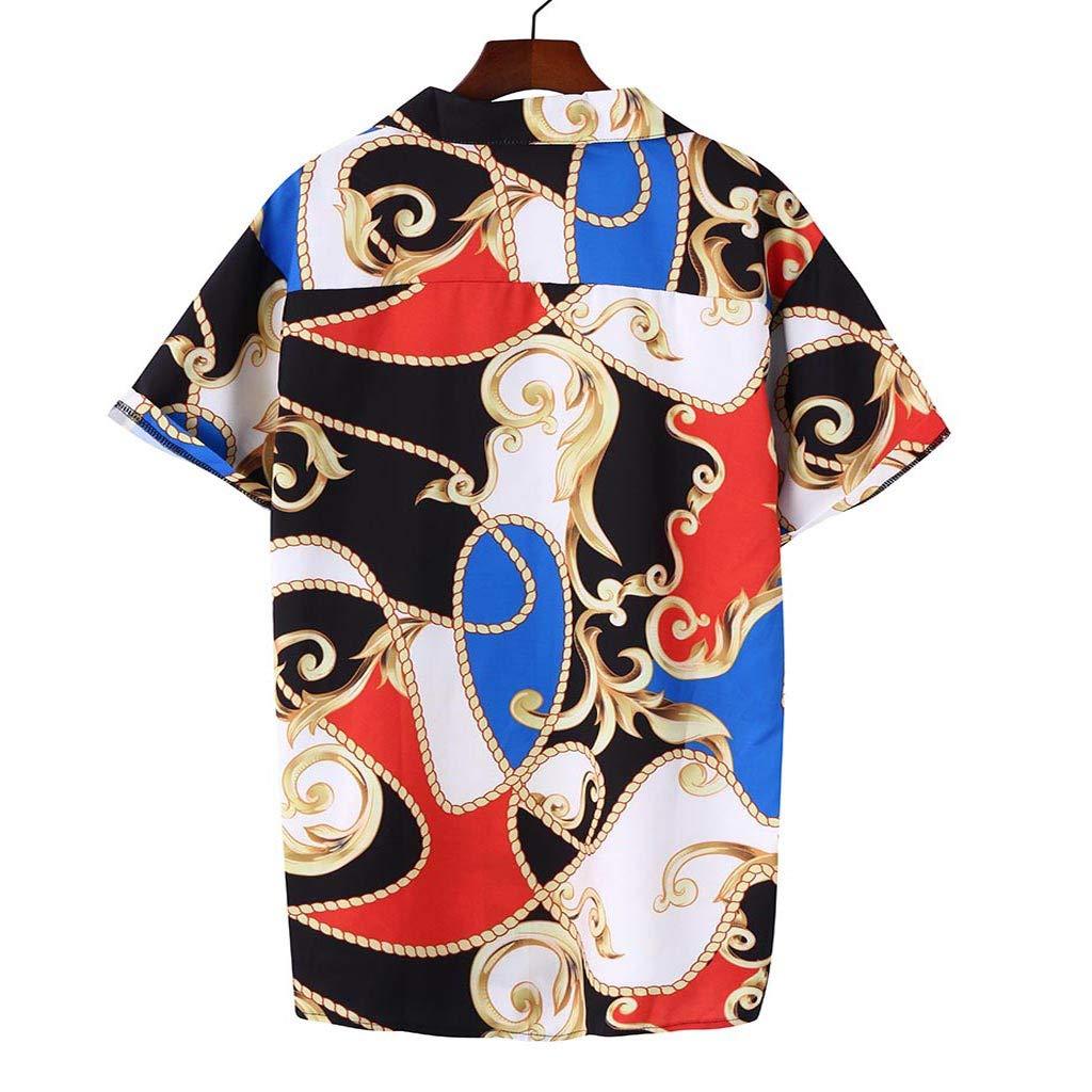 AG&T Hombre Camisa Hawaiana Estampadas Tops Solapa Manga Corta ...