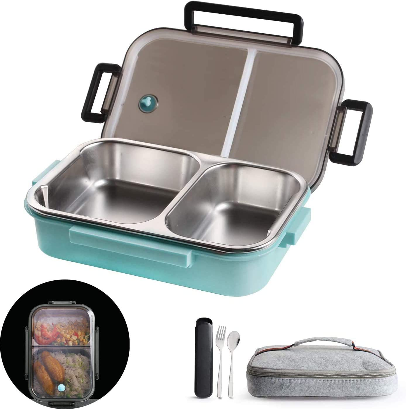 2 Compartments Bento Lunch box with Insulated Lunch Bag and Portable Utensils, Stainless Steel Food Lunch Containers for Kids Adults Men Women
