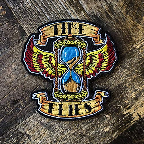 Time Flies 100% Embroidered Old School Tattoo Flash Morale Patch - Hook Backed by NEO Tactical