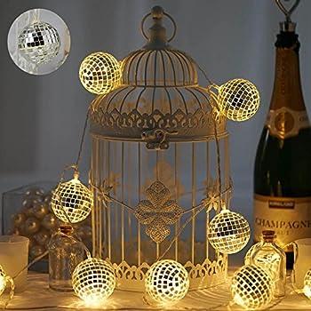 Amazon Com Mirror Ball String Of 12 Bright White Led