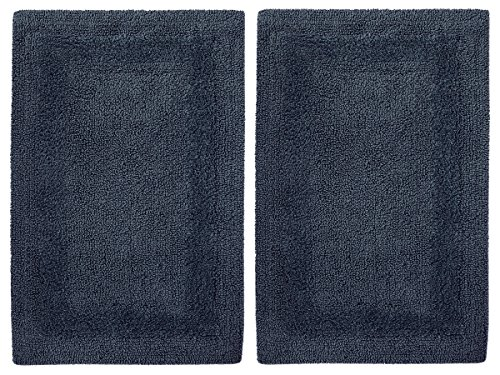 (Cotton Craft 2 Piece Reversible Step Out Bath Mat Rug Set 17x24 Navy, 100% Pure Cotton, Super Soft, Plush & Absorbent, Hand Tufted Heavy Weight Construction, Full Reversible, Rug Pad Recommended)