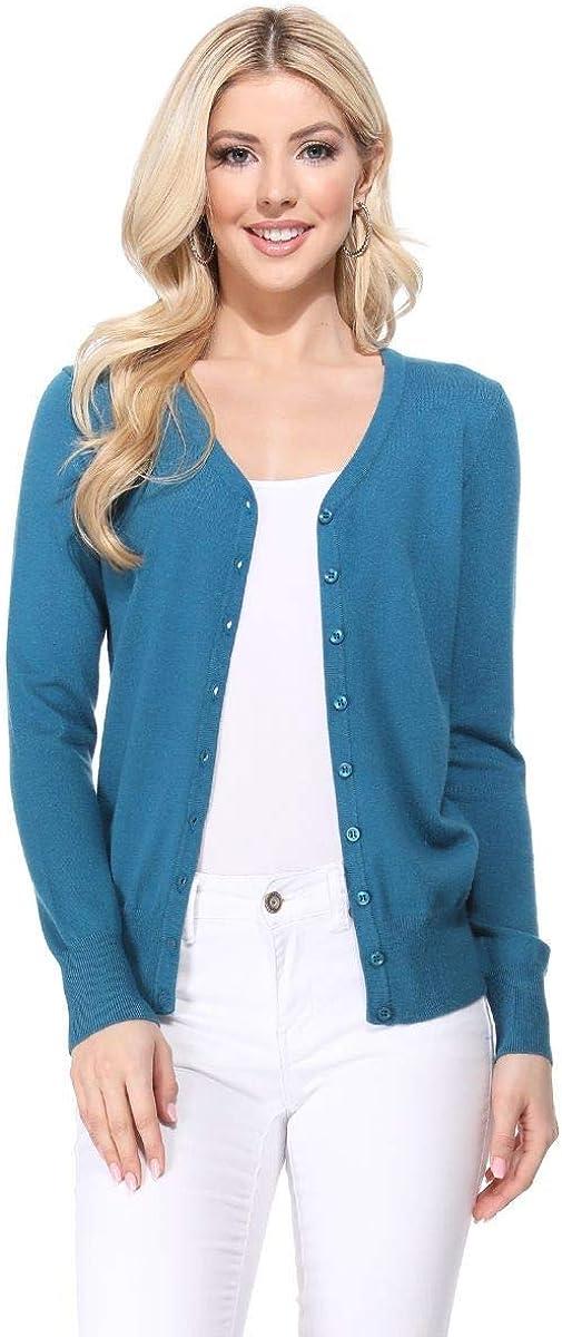 YEMAK Womens Long Sleeve Crewneck Cropped Button Down Cardigan Sweater