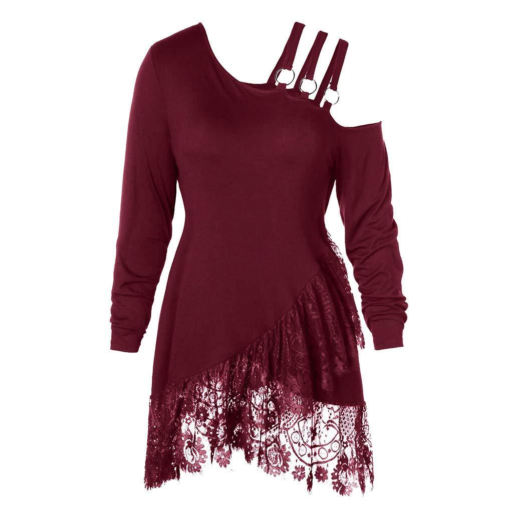 Funic Fashion Women Plus Size Blouse Lace Irregular Skew Collar Belt T-Shirt Tunic Tops