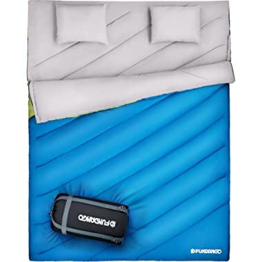 FUNDANGO Sleeping Bag Double 2 Person Sleeping Bags for Adults Cold Weather Lightweight Compact Waterproof for Camping Backpacking Hiking with Carry Bag&2 Camping Pillows