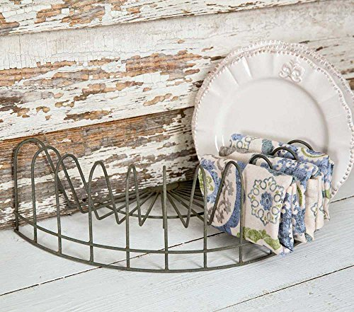 """CTW Home Collection Vintage Style Rustic Wire Dish Rack, Plate Display, File Holder, Mail caddy, Card Holder,Gray,16"""" x 8"""" x 4.5"""""""