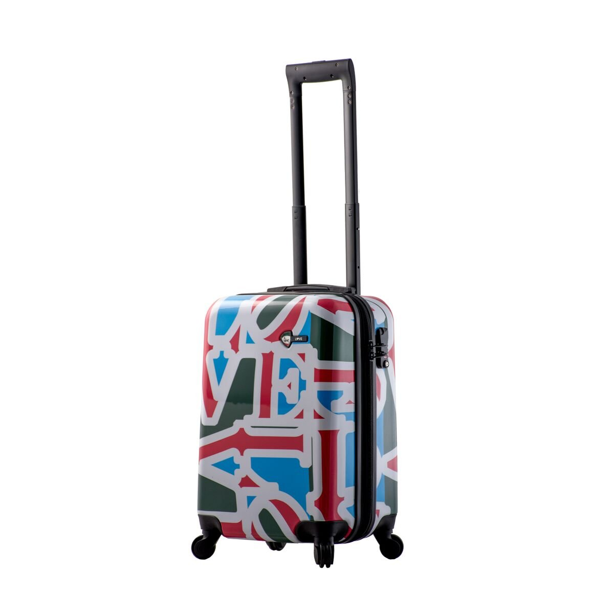 Mia Toro Love Collection Hard Side Spinner Luggage Carry-on, Lcg, Love Collection Green