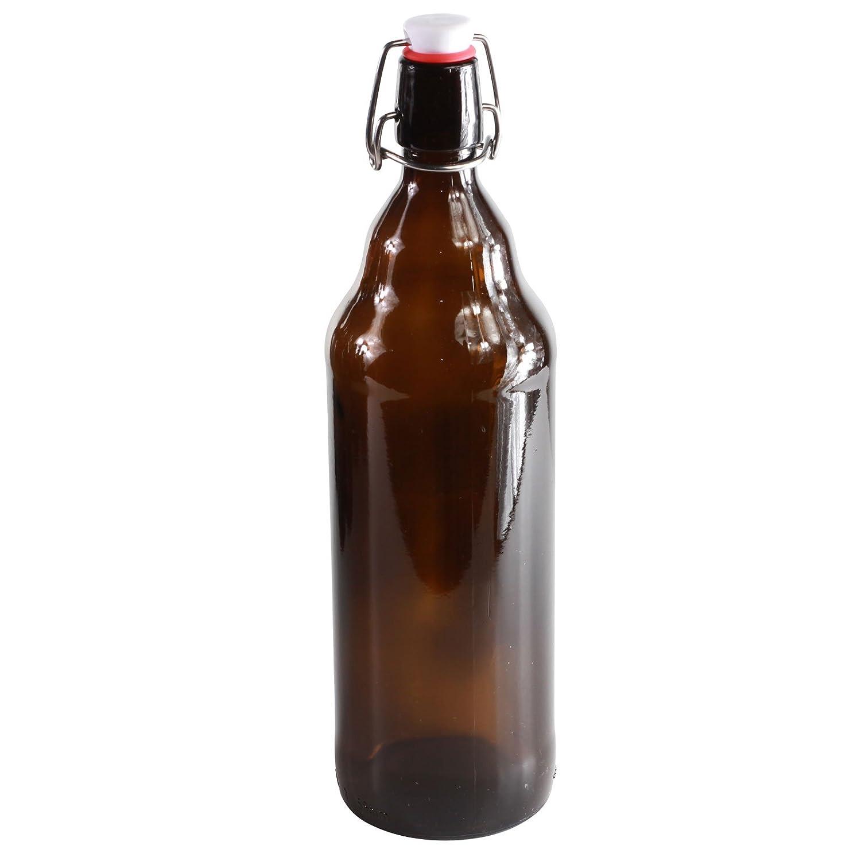 Botellas con tapón mecánico - 12 botellas con tapón mecánico para cerveza de cristal marrón , vidrio, 1.000 ml: Amazon.es: Hogar