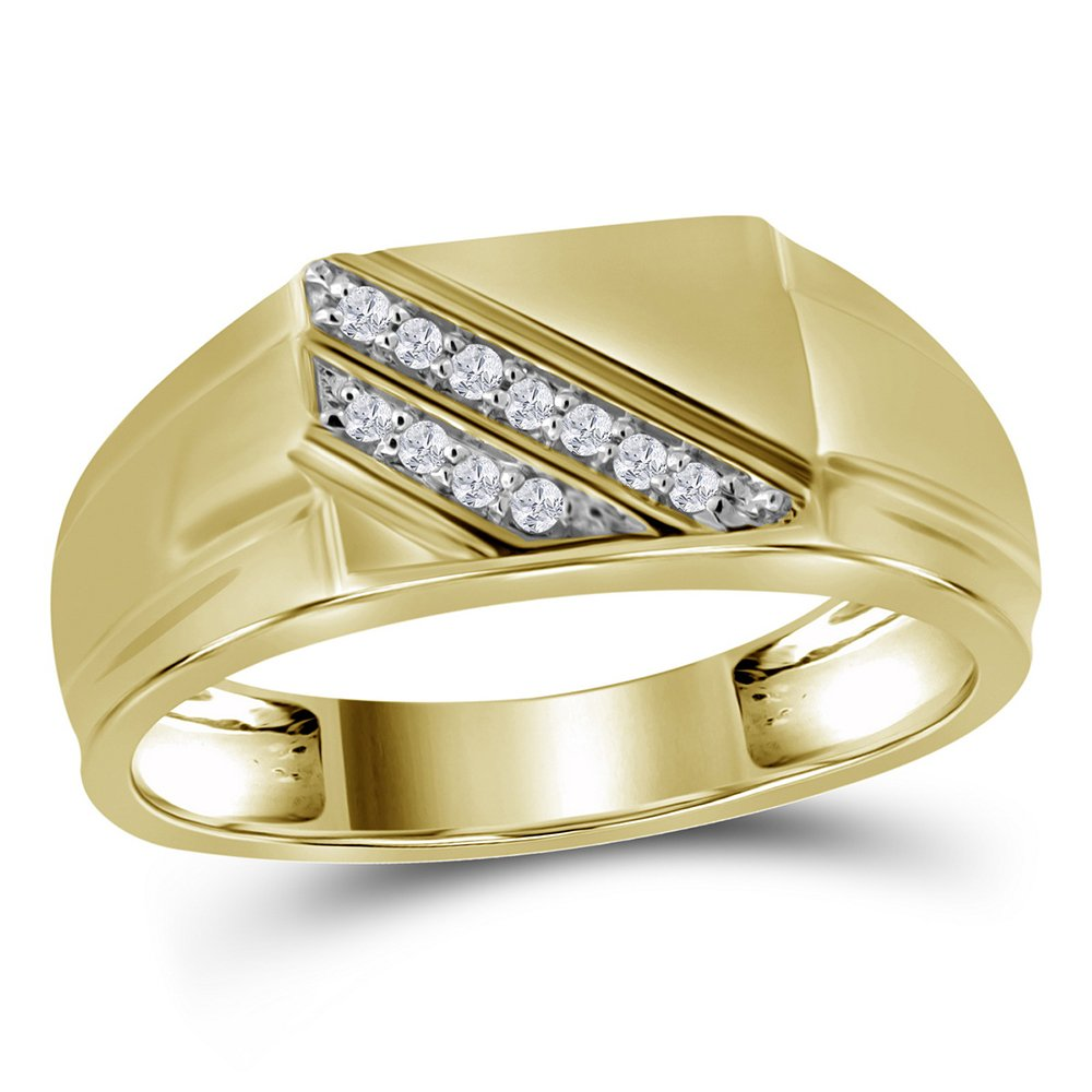 10kt Yellow Gold Mens Round Diamond Diagonal Row Flat Top Fashion Ring 1/12 Cttw