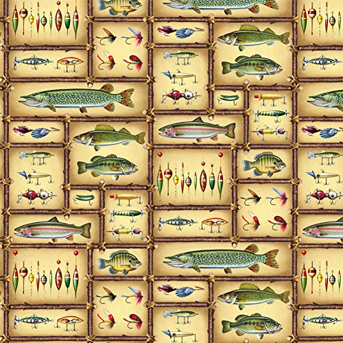 Graphics and More Colorful Fish and Fishing Lures Premium Roll Gift Wrap Wrapping Paper by Graphics and More