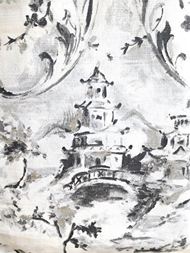 Envogue Window Curtains Asian Japanese Oriental Toile Damask Pagoda 50-by-96-inches 100% Cotton Set of 2 Window Panels Pair Drapery Cherry Blossom Taoist House Metallic Silver Grey Black White Gray (Koi Fish Window Curtains)