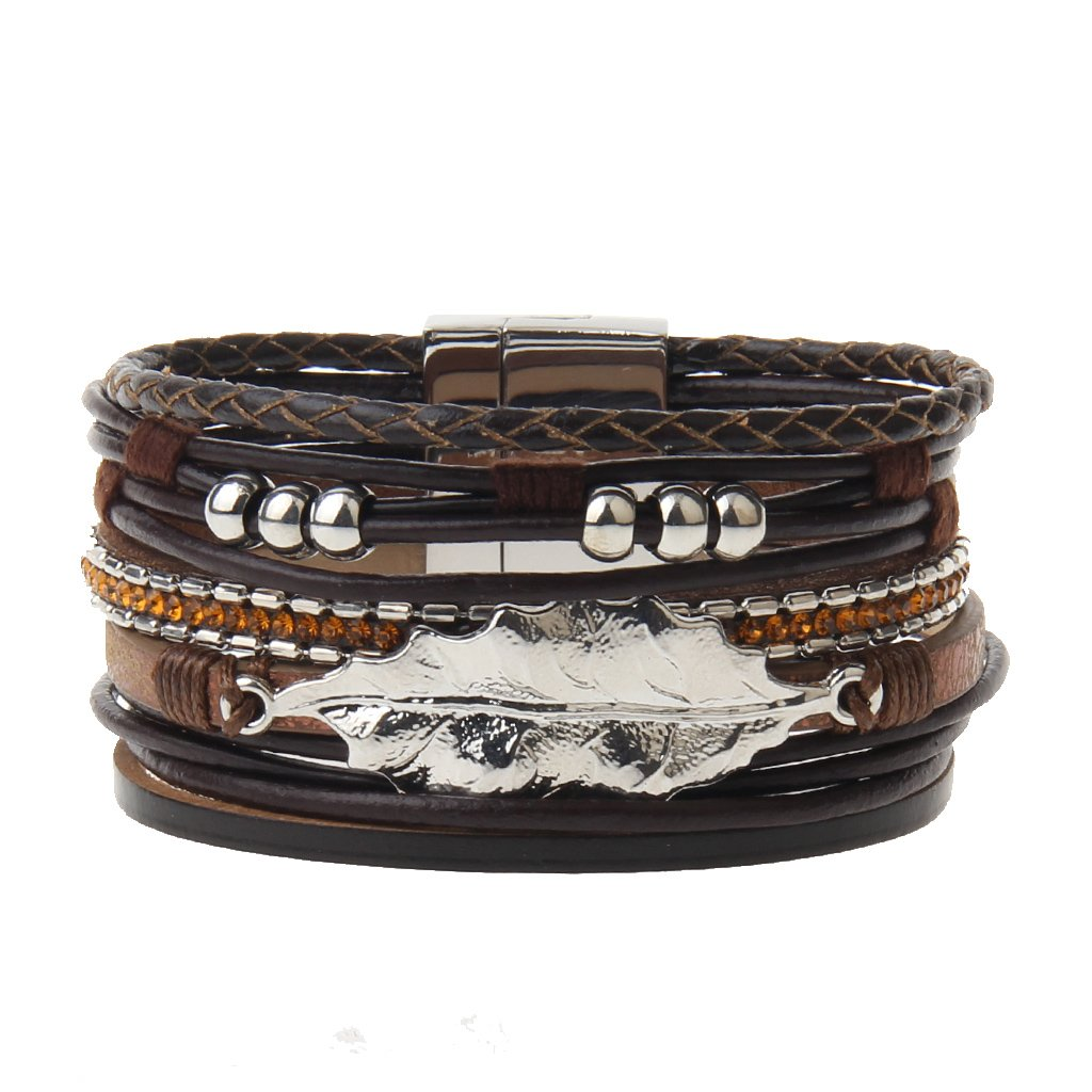 Brown Leather Wrap Bracelet – Leaf and 6 Pretty Alloy Beads – Cuff Bangle – Magnetic Buckle – Charm Bracelet for Women,Girl – A Perfect Gift for Valentine's Day,Mother's Day By Jenia